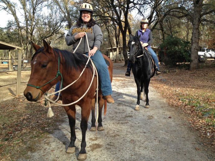 Riding River on the ranch loop with Barbara and Hermoso